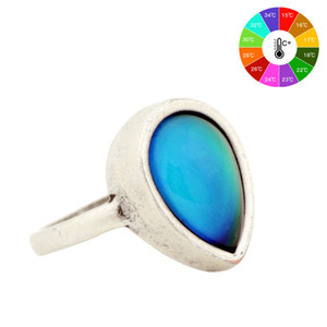 Wholesale Fashion Boho Retro Vintage Stone Mood Rings Temperature Sensing Color Change Ring Big Rings for Women Men MJ RS047