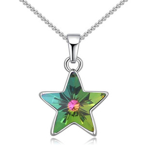 Wholesale Fashion Crystal Star Pendant Necklaces Chain Necklace For Women Made with Crystal from Swarovski Elements White Gold Plated