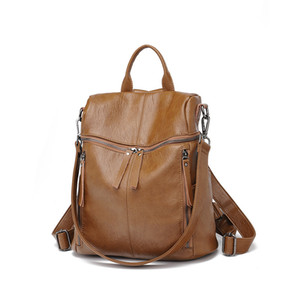 Wholesale Fashion Multifunction Genuine Leather Women Backpack Large Capacity Travel School Bags for Teenagers Casual Ladies Shoulder C564