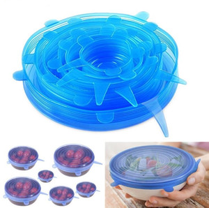 Wholesale 6PCS Set Silicone Stretch Suction Pot Lids Food Grade Fresh Keeping Wrap Seal Lid Pan Cover 4 Color Nice Kitchen Accessories