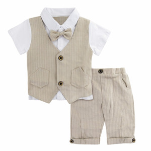 Wholesale baby clothing gift sets resale online - Baby Boys Gentleman Suit Set Infant Wedding Clothes with Bowtie Newborn Summer Khaki Clothing Ropa Baptism Birthday Gift