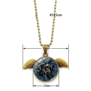 Wholesale Angel wings pendant necklace Cute animal pattern Time Gem Cabochon necklace New arrivel vintage bronze color sweater chain