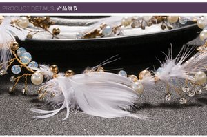 Bridal Headpieces Flower Pearl Crystal Wedding Headbands Tiaras Women Hair Band Feather Girls Headdress Dress Party Hair Accessories