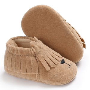 Cute Animal style PU Suede leather Infants Toddler moccasins Non-slip Newborn baby Crib Shoes tassel soft sole shoes 0-18 M on Sale