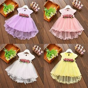 Wholesale Children Kids Infant Baby Girls Sleeveless Dress Party Blue White Yellow Purple Bow Flower Summer Spring Ball Gown Tutu Dresses
