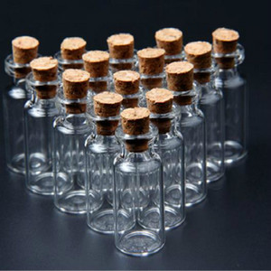 Wholesale 20Pcs set x35mm ML Tiny Small Clear Cork Glass Bottles Vials For Wedding Holiday Decoration