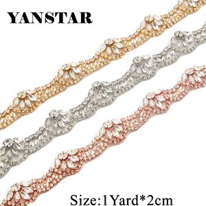 Yanstar Handmade Thin Gold Rhinestone Applique Trim by The Yard with Iron-On Back for DIY Bridal Wedding Belt Sash Bridesmaid Dress YS801 on Sale