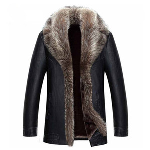 Wholesale Mens Winter Coat Fur Inside Leather Jacket Real Raccoon Fur Hood Luxury Outwear Overcoat Warm Thickening Tops Plus Size 4XL 5XL 2017 Hot