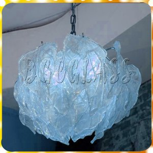 Wholesale Ice Blue Modern Led Pendant Livingroom Light Mouth Blown Borosilicate Luxury Hand Blown Glass Chandelier Light for Sale