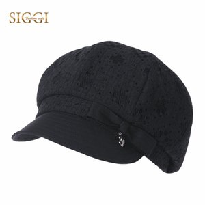 SIGGI Spring Cotton Women Berets Hats Solid Bowknot Decoration Front Brim Sweatband Breathable Chapeu Snapback Caps Female 99026
