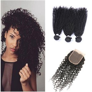 Wholesale malaysian jerry curl hair for sale - Group buy 8A malaysian curly hair with closure jerry curl human hair bundles with lace closures malaysian kinky curly maylasian hair with closure