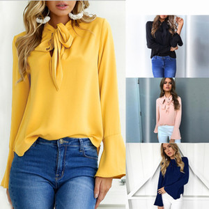 Wholesale Fashion Women Blouses Ladies Tops Bow Office Chiffon Blouse V neck Flare Long Sleeve Shirt Female Casual Spring Blusas Mujer