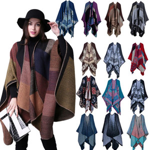 Wholesale Cashmere Ponchos Styles Women Girls Pashmina Scarf CM Plaid Capes Winter Warmer Shawl Knit Outdoor Wrap Jacket OOA5521