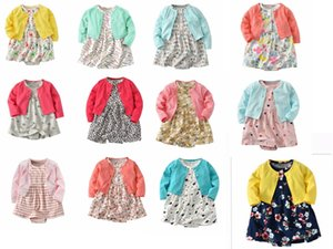 Wholesale 12styles Baby Long Sleeve Girl Coat Floral Dresses Cotton Fabric Newborn Baby Girl Skirt Set
