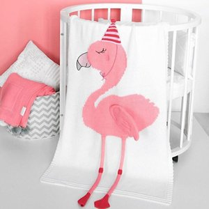 Wholesale Unicorn Flamingo Blanket Wool Yarn Knitting Cotton Throw Kids Baby Autumn Winter Warm Bedding Shawl High Quality qt hh