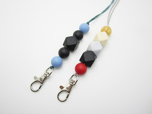 Silicone Bead Lanyard Badge Card Key Holder Round Hexagon Keychains Necklace Women Fashion Accessories Gifts Gold Marble