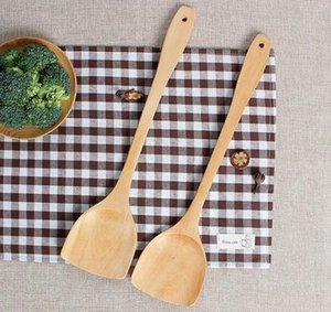 Wholesale Wood Wok Spatula Wooden Turner Cooking Utensils Kitchen Handcrafted Curved Stir Fry Wooden Mixing Spoon Serving Turner Tool