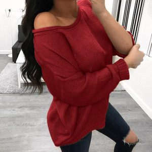 Wholesale womens loose long sleeve winter sweater pullover o neck knitted fall sweater coat solid basic style autumn outerwear sexy hot klw64