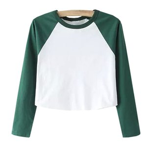 Wholesale Two Tone Raglan Sleeve Crop Tee Shirt Black And White Round Neck Top Autumn Long Sleeve Plain T Shirt