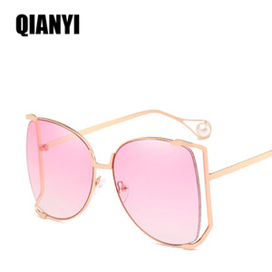 Wholesale Luxury women Designer Sunglasses Pearl Decoration Legs Fashion Square Brand Sun Glasses Ladies Gradient Clear Shades UV400 color