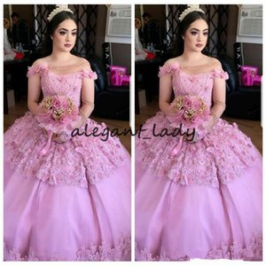 Wholesale 2018 New Sheer One Shoulder Ball Gown Quinceanera Dresses Custom D Floral Adorned Beaded Prom Party Gowns Vestidos De Quinceanera Age