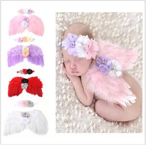 Wholesale Newborn Photography Props Costume Cute Angel Wings Headband Photo Props Infant Baby Girls Boys Outfits Accessories