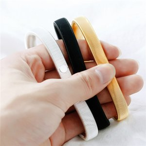 Men Punk Solid Elastic Bracelet Metal Sleeve Hoop Springs Steel Wire Armband Bracelet Punk Wrap Bracelets