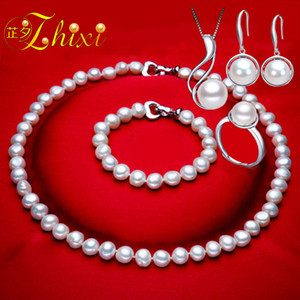 Wholesale ZHIXI Real Pearl Jewelry Set White Natural Broque Freshwater Pearl Necklace Bracelet Earrings Ring For Women Trendy Gift T125