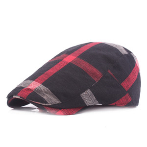 Wholesale Unisex Colored Plaid Cotton Newsboy Caps Hats Flat Ivy Gatsby Cap Men Women Retro Berets Driving Casquette