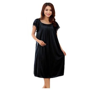 Wholesale 2017 Brand Sleep Lounge Women Sleepwear Nightgowns Maternity Indoor Clothing Home Dress Black Nightdress Plus Size