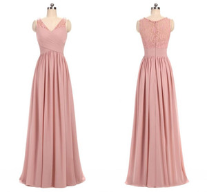 Wholesale 2018 Dusty Rose Pink Chiffon V Neck Lace Bridesmaid Dresses Pleated Ruffles Floor Length Long Bridesmaid Gowns Wedding Party Dresses