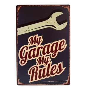Wholesale My Garage My Rules Retro Vintage Metal Tin sign poster Gas Oil for Man Cave Garage shabby chic wall sticker home decor