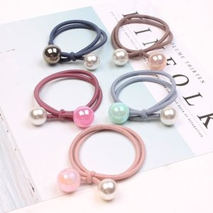 Wholesale New hair accessories set Fashion double ring pearl hair rope Jelly beads handmade knotted rope and retail