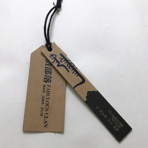 Wholesale Kraft cardboard paper hang tags black color printed gr Custom swing tags with string attached high quality Price tags for clothing