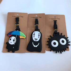 Wholesale Spirited Away no face man PVC Key chain couple gift anime luggage tag boarding pass bags tags hanging new