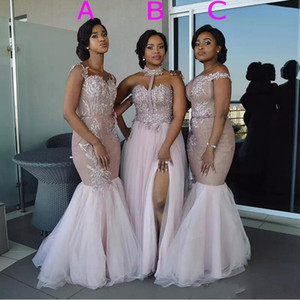 74577034f15b Mixed Style Mermaid Bridesmaid Dresses Pink Off Shoulder Appliques Split  Layered Tulle Maid of Honor gowns