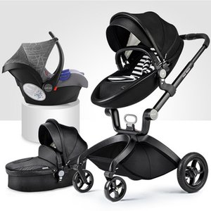 Wholesale New arrival leather baby stroller egg shape baby cart inflatable wheelchair stroller trolley k arabasi