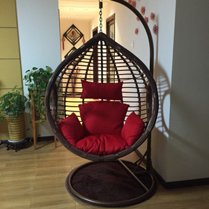 Wholesale hang chairs resale online - Rough rattan livingroom bedroom balcony hanging chair swing rocking leisure chair with armrest and Pedal footrest