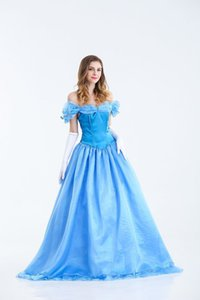 Wholesale Chic Fancy Blue Two Pieces Adult s Classic Off shoulder Princess Dress Short Sleeves Lace Layers Ball Gown For Halloween Party