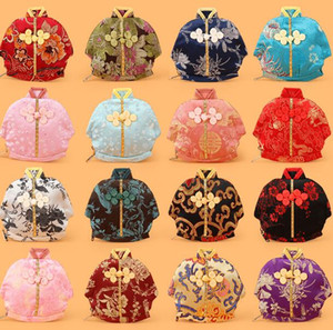 Wholesale 13x12cm Vintage Chinese Clothes Shaped Small Bag Zipper Coin Purse Jewelry Gift Pouches Silk Brocade Craft Packaging Bag mixed colors