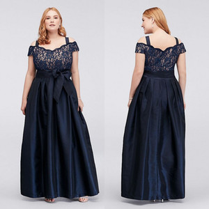 Wholesale Dark Navy Plus Size Lace Prom Dresses Off The Shoulder Evening Gowns With Sash A Line Cheap Taffeta Floor Length Formal Dress
