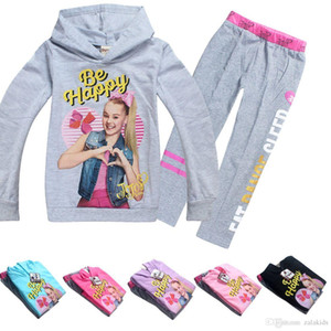 Wholesale 6 Colors Girls JOJO Siwa Clothing Sets Autumn Children Hoodies Sweatshirts + Long Pants 2pcs Outfits JOJO Printed Kids Casual Sets 4-10Y