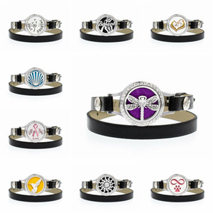 Dragonfly Faith Hope Love Ribbon 25mm Crystal Twist Screw Aromatherapy Perfume Diffuser Locket Wrap Bracelet PU Leather Wristand 10pcs Pads