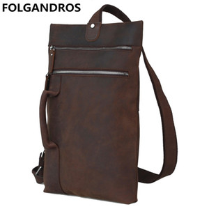 Wholesale FOLGANDROS Brand Men s Large Chest Bag Crazy Horse Genuine Leather Shoulder Crossbody Bag High Quality Anti theft Unbalance Pack