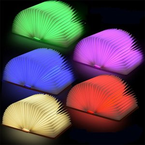 Wholesale Creative Foldable Pages Led Book Shape Night Light Lighting Lamp Portable Booklight Usb Rechargeable For Bedroom Decoration kq Z