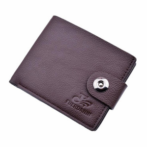 Wholesale Men s PU pocket wallet Brown genuine leather wallet with inner zipper pocket Vertical cowhide purse fast Post