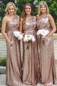Cheap Rose Gold Bridesmaid Dresses Sequin 2018 One Shoulder Long Plus Size Wedding Guest Gowns Arabic Maid Of The Honor Gowns Wholesale on Sale