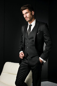 Latest Design One Button Black Groom Tuxedos Peak Lapel Groomsmen Best Man Mens Wedding Suits (Jacket+Pants+Vest+Tie) D:295