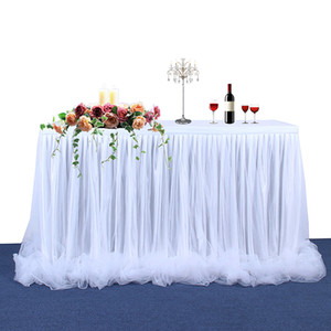 Wholesale Handmade Tulle Table Skirt Tablecloth For Party Wedding Home Decoration Birthday Party Baby Shower Chiffon Gauze Bridal Veil