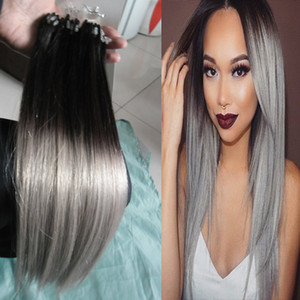Ombre T1B Grey Straight Silver Ombre Micro Loop Human Hair Extensions 100% Human Micro Bead Links Machine Made Remy Hair Extension